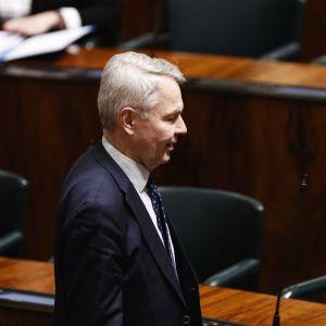 Utrikesminister Pekka Haavisto fotograferad i profil i riksdagen.