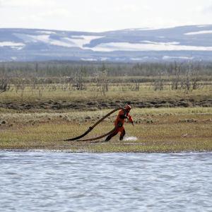 Ihminen vetää joen rannalla perässään paksua letkua