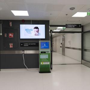 Ilmoittautumisautomaatti Kainuun keskussairaalassa