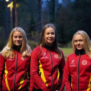 Porträttbild på Jill Friberg, Rebecka Malmberg och Therese Äbb.