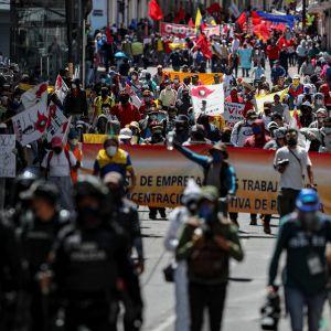Bild på personer som demonstrerar på en gata.
