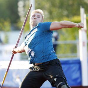 Toni Kuusela miesten keihäänheitossa yleisurheilun Tähtien kisoissa Orimattilassa 15. kesäkuuta 2021