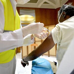 Henkilöä rokotetaan Vatikaanissa.