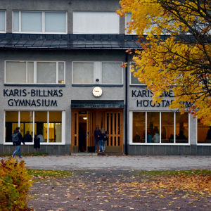 Skolelever går in i en skolbyggnad. Nära ingången står en lönn med höstgula löv.