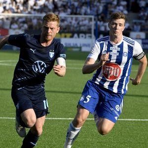 Malmö-kapteeni Anders Christiansen ja HJK-kapteeni Daniel O'Shaughnessy.