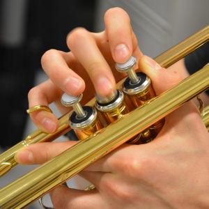 Närbild på fingrar som rör sig på en trumpets tangenter.