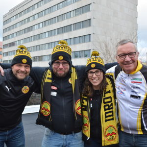 Kristoffer Sandbacka, Magnus Slotte, Chelsy Swackhamer och Ole Gustafsson från IK Myran.