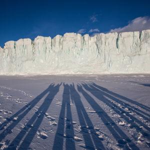 Långa skuggor på isen i Antarktis.