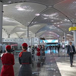 En bild på människor som går på en flygplats, färgskalan är grå.