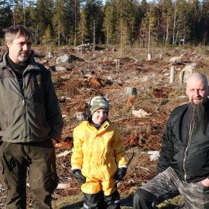 Två män och en liten pojke står på ett kalhygge.