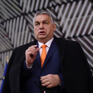 Viktor Orban puhuu päällystakki harteillaan