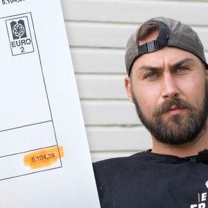 Kollagebild med ca 30-årig man som tittar argt mot kameran, bredvid honom närbild på räkning på drygt 5000 euro.