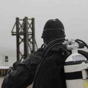 En dykare i svart dräkt och tub på ryggen. Vänd med ryggen mot kameran. I bakgrunden ser man hoppställning och vatten.