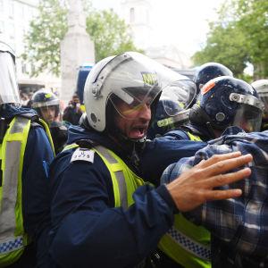 Poliisin ja mielenosoittajien välistä käsikähmää Lontoossa 13. kesäkuuta.