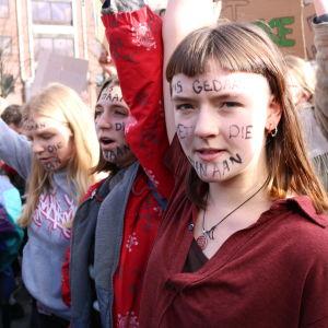 Klimatdemonstration i belgiska Leuven den 7 februari 2019