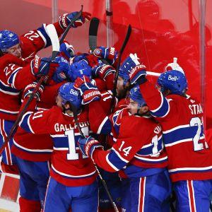 Montreals spelare firar i klunga.