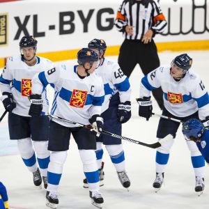 Jyrki Jokipakka, Mikko Koivu, Sami Vatanen och Jori Lehterä i World Cup-turneringen i Toronto 2016.