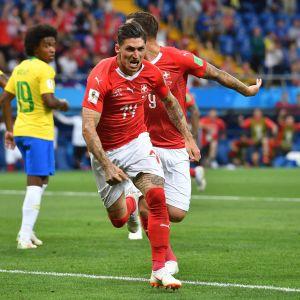 Steven Zuber gjorde mål mot Brasilien i premiären.
