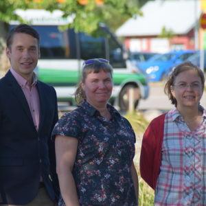 Porträttbild på tre personer - Henrik Wickström, Marja Kuisma och Elisabeth Liljeqvist.