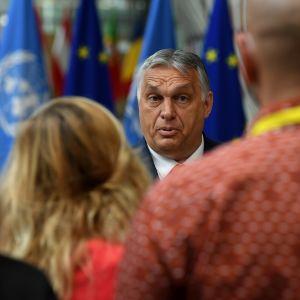 Viktor Orban talade till medierna före mötet.