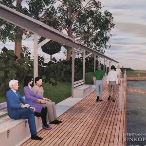 Animerad bild på dalsbruks gästhamn längs med kajen där nya bänkar med tak av solpaneler ska byggas.