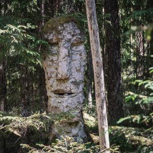 Skulptur i skogen: stort ansikte med mossa som hår står bland granar.