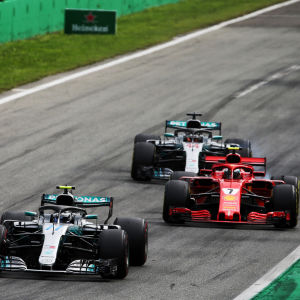 Valtteri Bottas, Kimi Räikkönen och Lewis Hamilton.