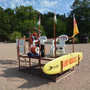 Den rödgula flaggan signalerar att badvakt finns på plats på badstranden.