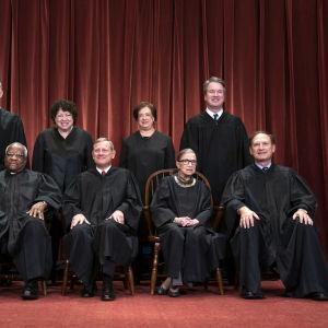 Gruppbild på domarna i USA:s högsta domstol 2018.