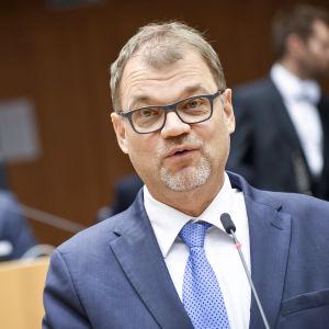 Juha Sipilä talar till Europaparlamentet den 30 januari