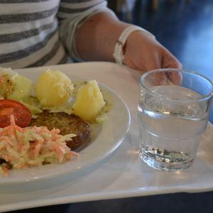 Matportion med vegetariska biffar, potatis och sallad.