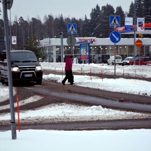 Korsningen Veckjärvivägen - Montörsvägen i Borgå