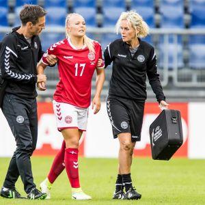 Line Jensen skadade sig i semifinalen mot Österrike.