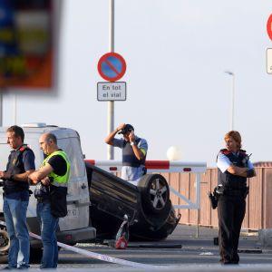 En bil involverad i terrorattack i Cambrils, Spanien.