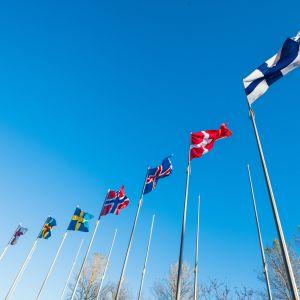 Nordiska flaggor under ministerrådets möte i Helsingfors i oktober 2017