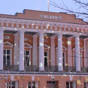 Snöflingor avbildade på Åbo Akademis huvudbyggnad i samband med ljusshow då Åbo Akademi 100 år- jubileumsåret invigdes.