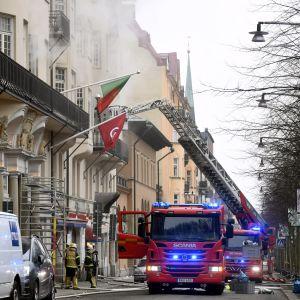 Brand på Narvavägen i Stockholm