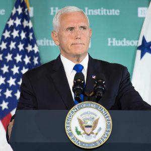 Mike Pence vid den konservativa tankesmedjan Hudson Institute i Washington 4.1.2018.