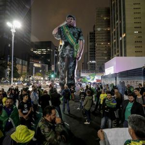 Högernationalisten Jair Bolsonaros anhängare firar valsegern i Sao Paulo