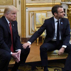 USA:s president Donald Trump och hans värd president Emmanuel Macron mötte pressen i Élyséepalatset på lördagen.