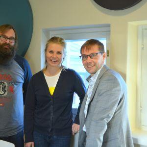 Sven Söderholm, Heidi Matinlassi och Fredrik Sandelin.