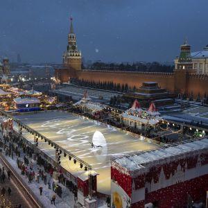 Röda torget i Moskva med Kreml.
