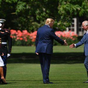 Prins charles hälsar USA:s presdient Donald Trump välkommen utanför Buckingham Palace