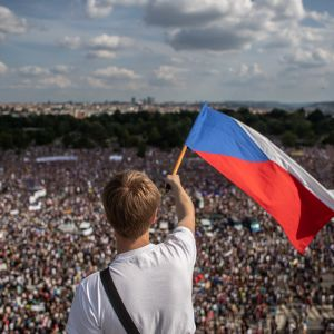 Demonstration i Parag mot premiärminister Andrej Babiš.