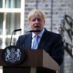 Boris Johnson håller sitt första tal som Storbritanniens premiärminister.