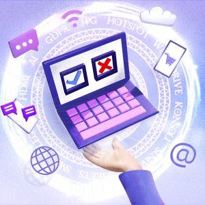 Nainen pitää kädessään tietokonetta