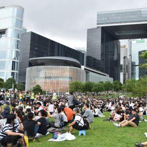 Demonstranter fyllde parken framför Hongkongs parlament och förvaltningens huvudbyggnad. Stämningen var allvarlig men fredlig.