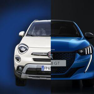 En bild av en vit Fiat ihopslagen med en blå Peugeot