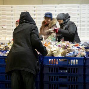 Människor som plockar med sig bröd i en brödkö i Kvarnbäcken i Helsingfors.
