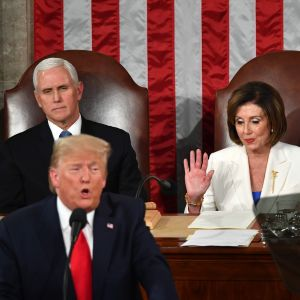 Trump, Mike Pence och Nancy Pelosi.